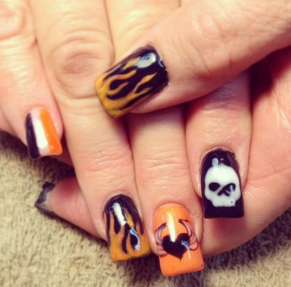 Orange Harley Davidson Nail Design