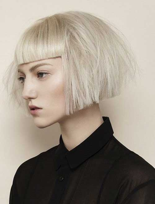 Short Blonde Easy Bob with Bangs