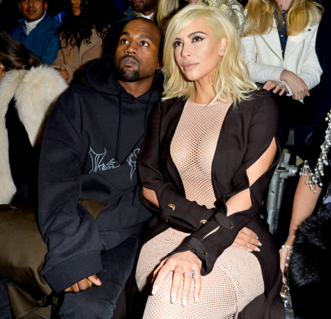 Kim Kardashian and Kanye West attend the Lanvin during Paris Fashion Week in Paris