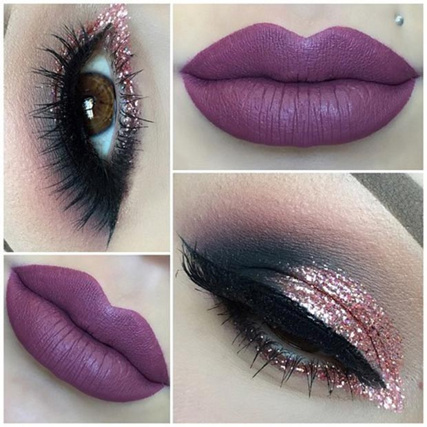Pink Glitter Eyes and Purple Lips Look