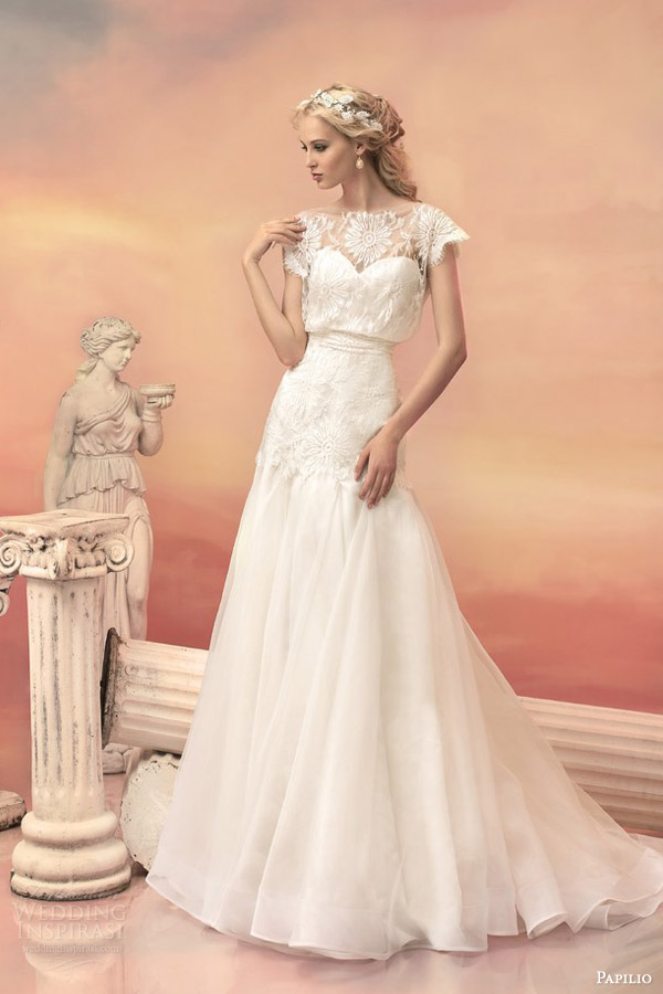 papilio bridal 2015 melissa chantilly lace organza blouson wedding dress