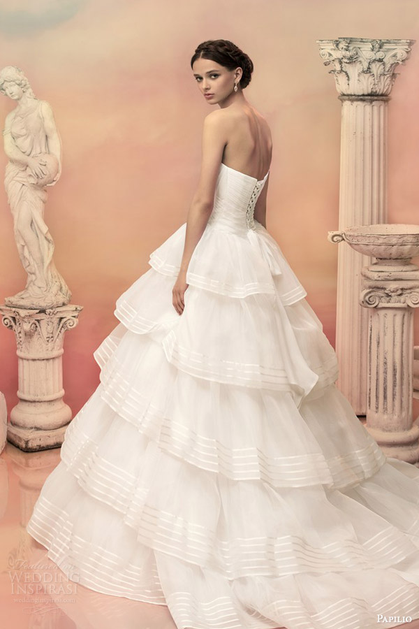 papilio bridal 2015 euridika strapless ball gown wedding dress tiered ruffle organza stripe skirt back view