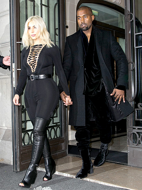 Kanye West stepped out in high-heel boots en route to the Givenchy show during Paris Fashion Week on March 8.