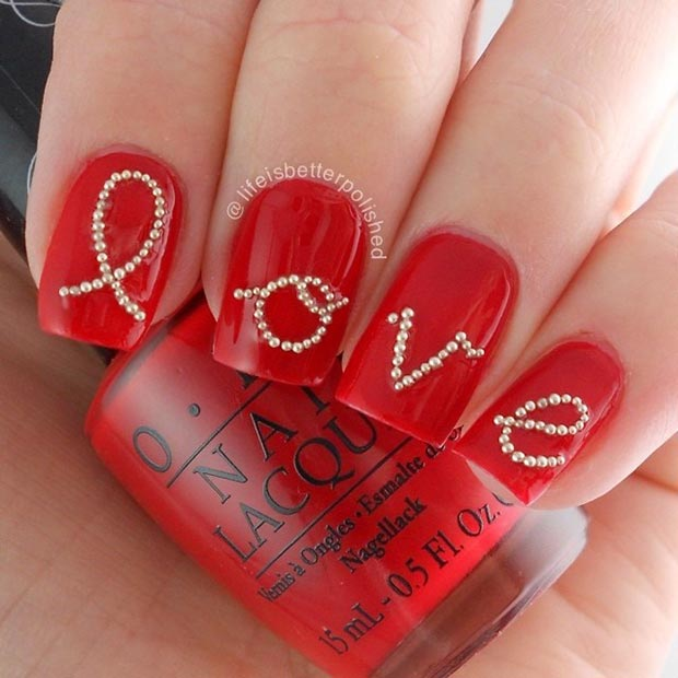 Red Love Valentines Day Nails