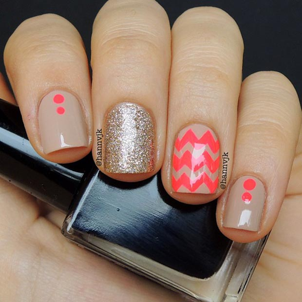 Nude and Neon Nail Design