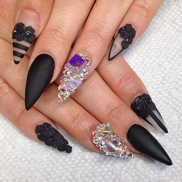 Black Matte Negative Space Stiletto Nails