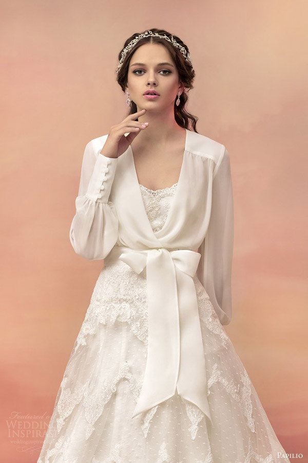 papilio bridal 2015 castillo strapless lace ball gown wedding dress chiffon long sleeve bolero jacket