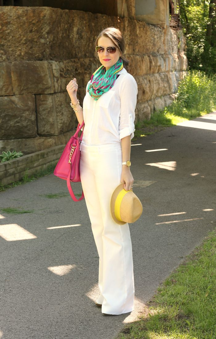neutral spring look with pop of color How to Style a Scarf for Spring