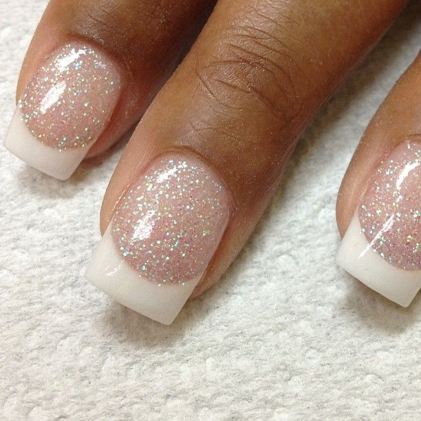 Glittering French Manicure Design for Clear Nails