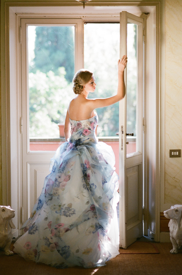 Floral print wedding dress   Rochelle Cheever Photography   see more on: http://burnettsboards.com/2015/03/floral-inspired-roman-villa-wedding/