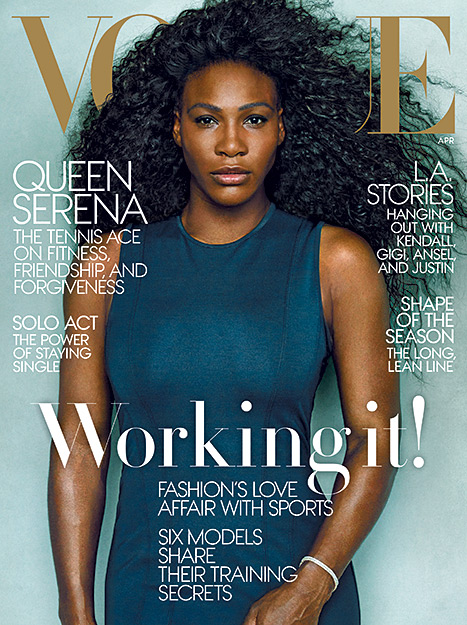 Serena Williams goes for a natural makeup look with a long, curly mane for the April 2015 issue of Vogue magazine.