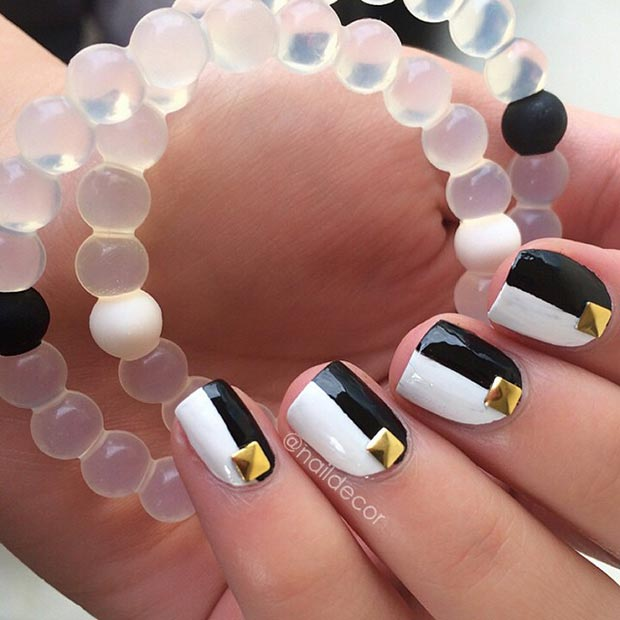 Black and White Nails with Gold Studs