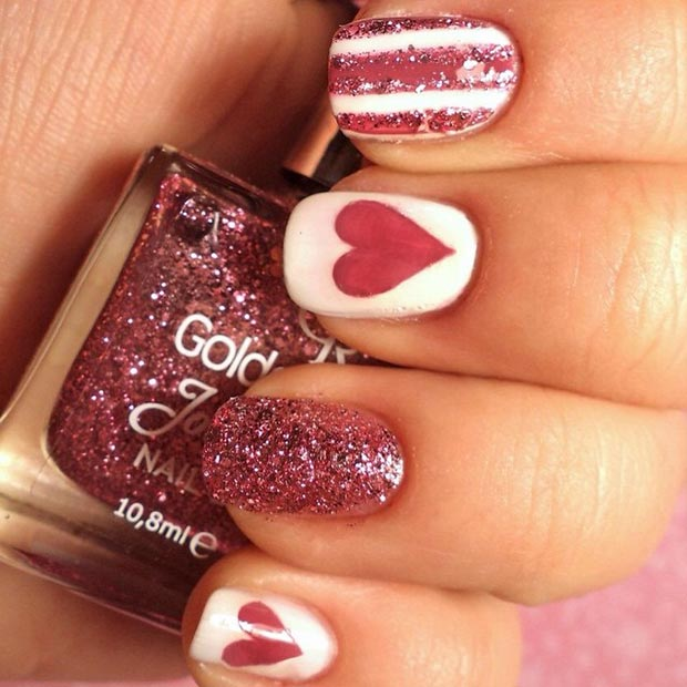 White Glitter Nail Design for Valentines Day
