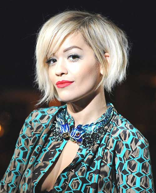 Rita Ora Platinum Choppy Hairstyle