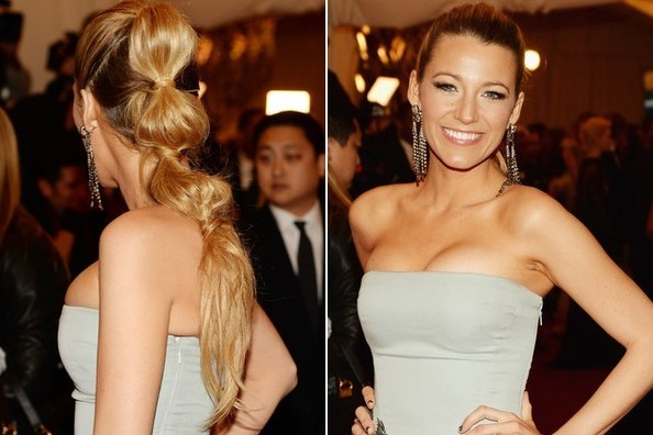 Blake Lively Segmented Ponytail Hairstyle