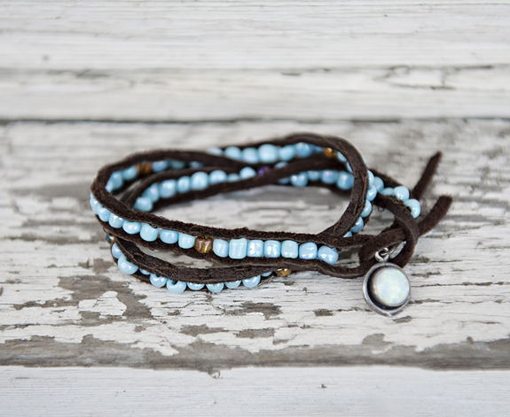 DIY Beaded Leather Bracelet
