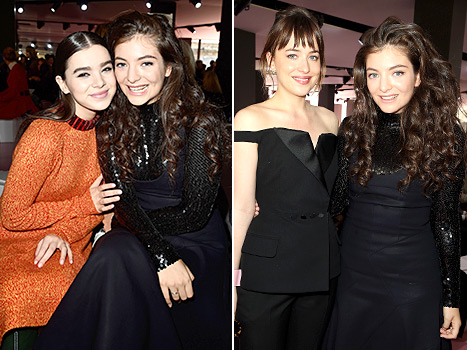 Let the sunshine in! Lorde finally flashed a grin while posing with Hailee Steinfeld and Dakota Johnson at Christian Dior on March 6, in Paris.
