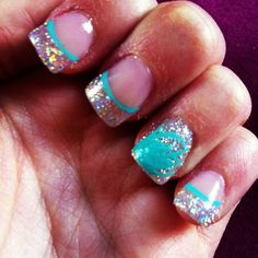 Aqua and Silver Nail Design for Proms