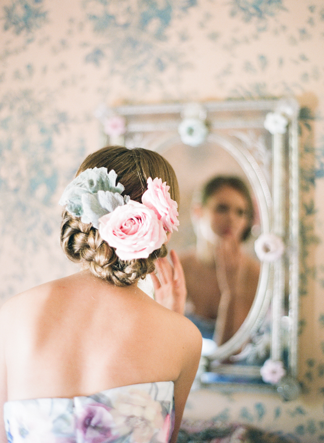 Pink rose flower crown | Rochelle Cheever Photography | see more on: http://burnettsboards.com/2015/03/floral-inspired-roman-villa-wedding/