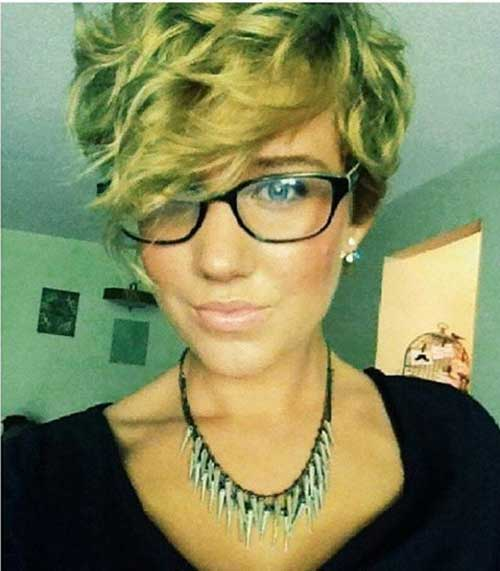 Asymmetric Short Pixie Hair with Curly Hair 2015