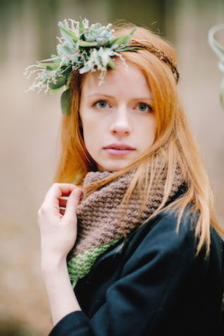 Bride with a scarf | Irinia Kilmova Photography | see more on: http://burnettsboards.com/2015/03/winter-forest-wedding/