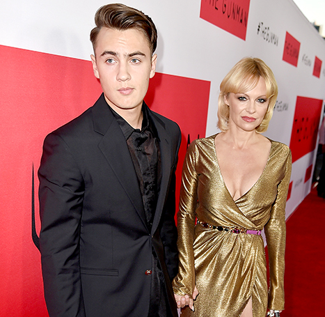 Brandon Thomas Lee and actress Pamela Anderson attend the premiere of Open Road Films'