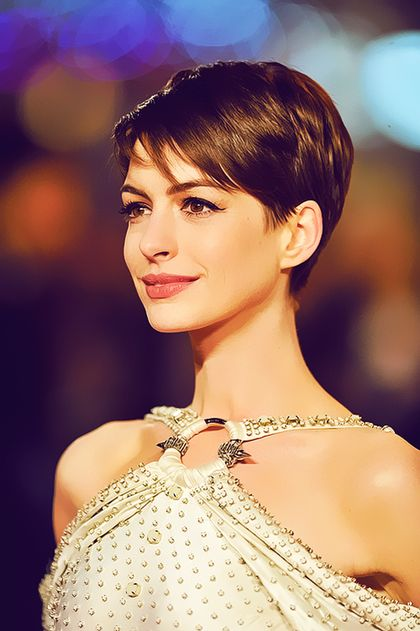 Anne Hathaway Pixie Cut Hairstyle 2014