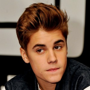 Justin Bieber Brown Hair Color with Up Bangs