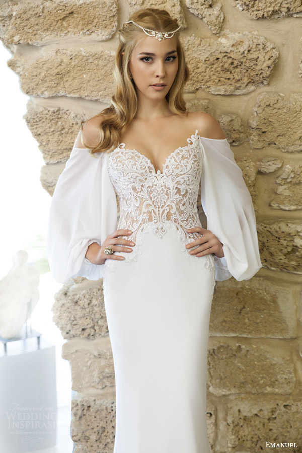 emanuel haute couture bridal 2015 romantic wedding dress lace bodice draped billowy long sleeves 3769