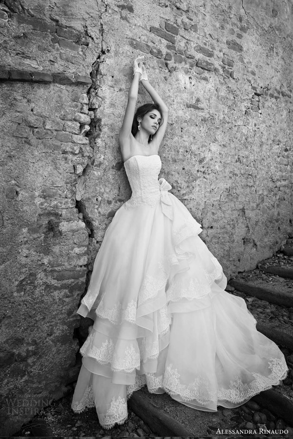alessandra rinaudo bridal 2015 sophie strapless ball gown wedding dress layered lace edged skirt