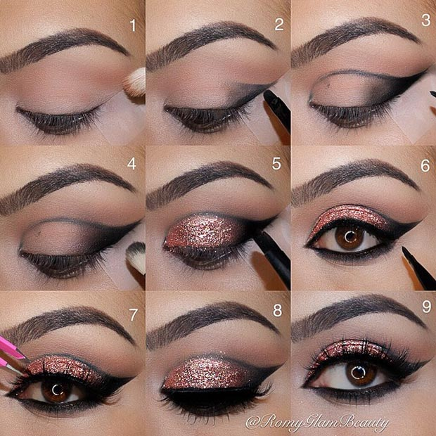 Black Cut Crease Rose Gold Makeup Eye Look