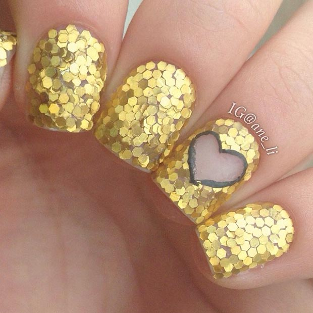 Gold Glitter Heart Nails