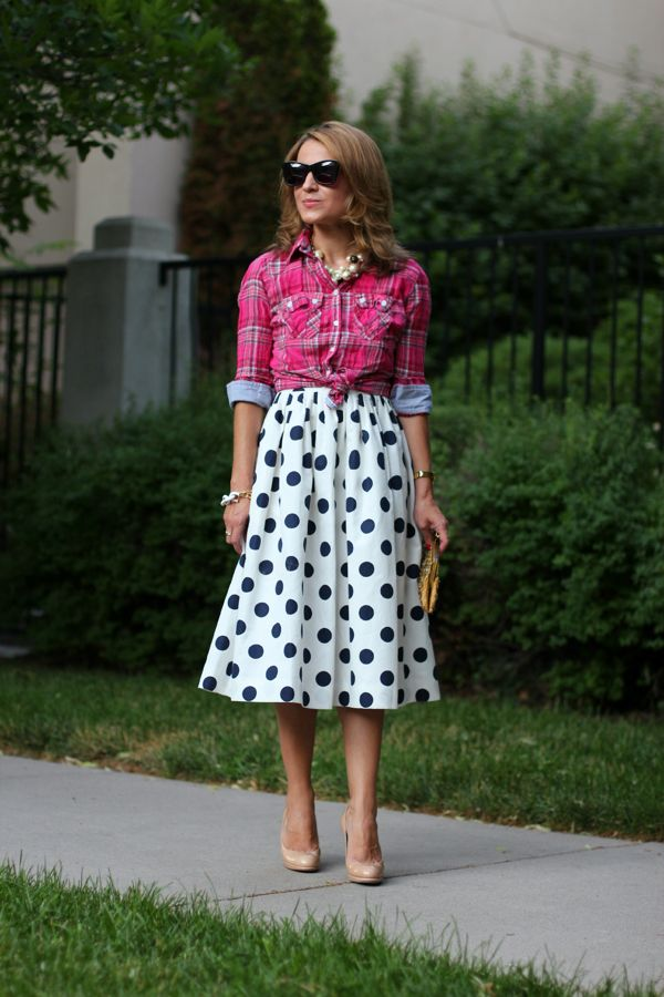 polka dots and pink plaid Mix Print Combos to Wear this Spring