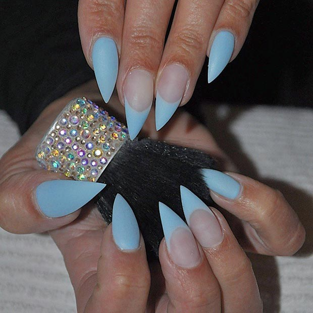 Matte Baby Blue Stiletto Nails