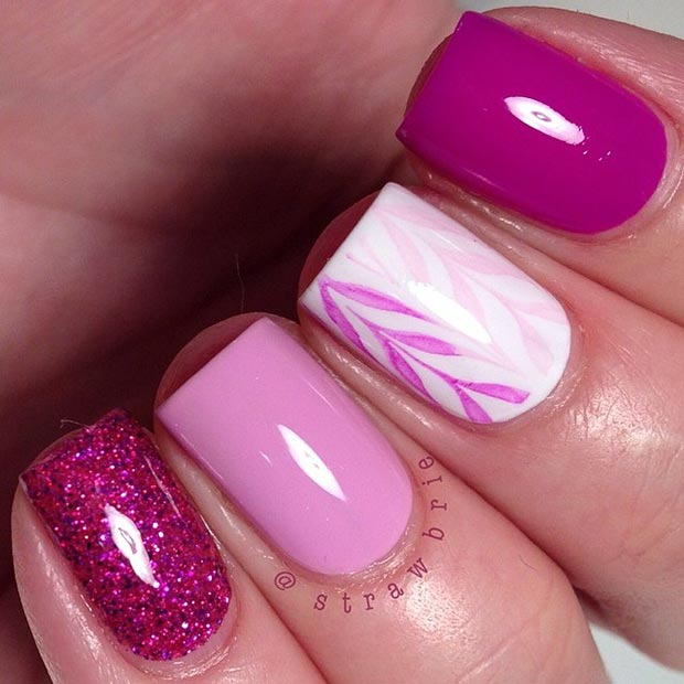 Simple Pink and White Nail Design for Short Nails