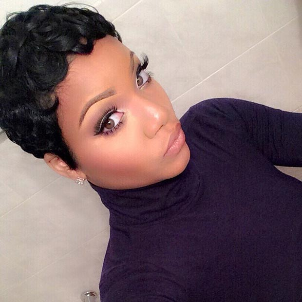 Pixie Hairstyle with Pin Curls