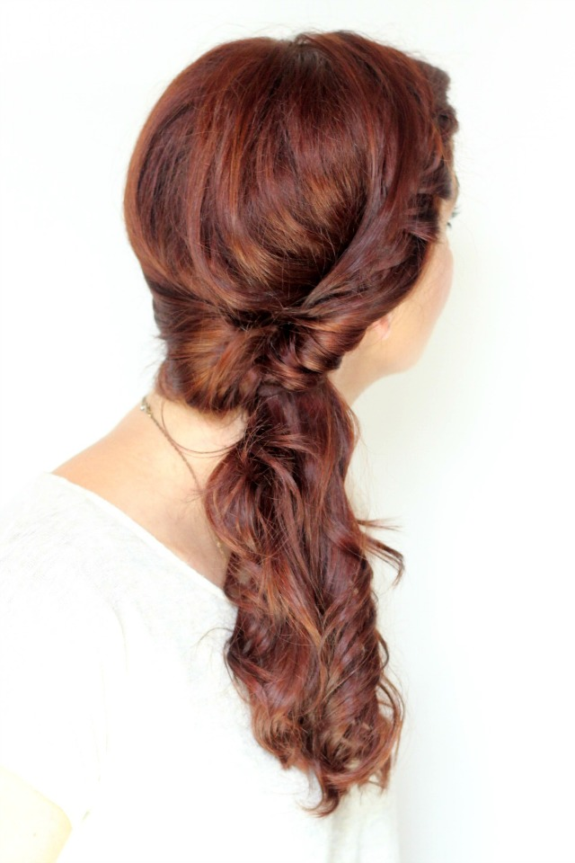 twisted side braided ponytail