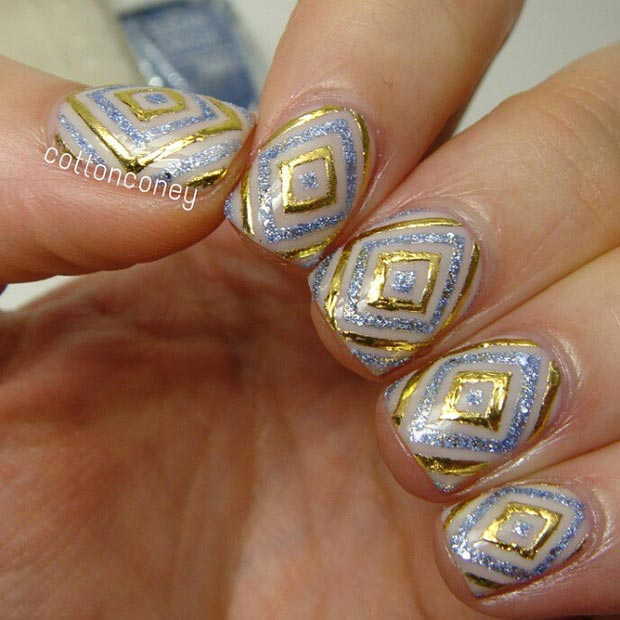 Gold and Silver Glitter Nail Design for Short Nails
