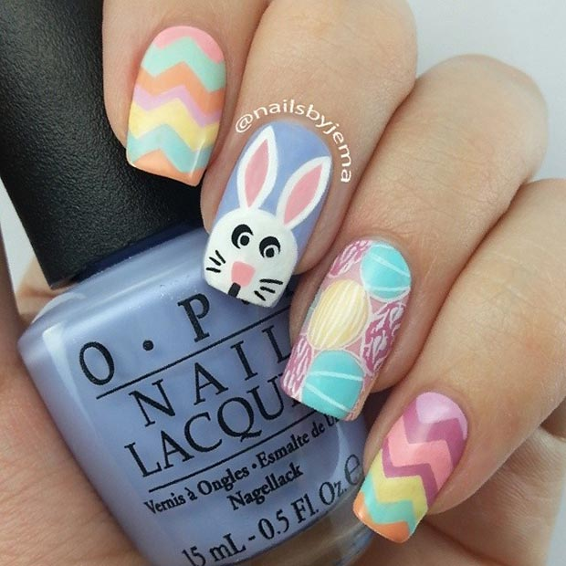 Colorful Easter Nail Design for Long Nails