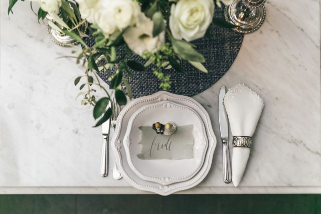 French inspired place setting | The Love Studio | see more on: http://burnettsboards.com/2015/03/vintage-dior-wedding-editorial/