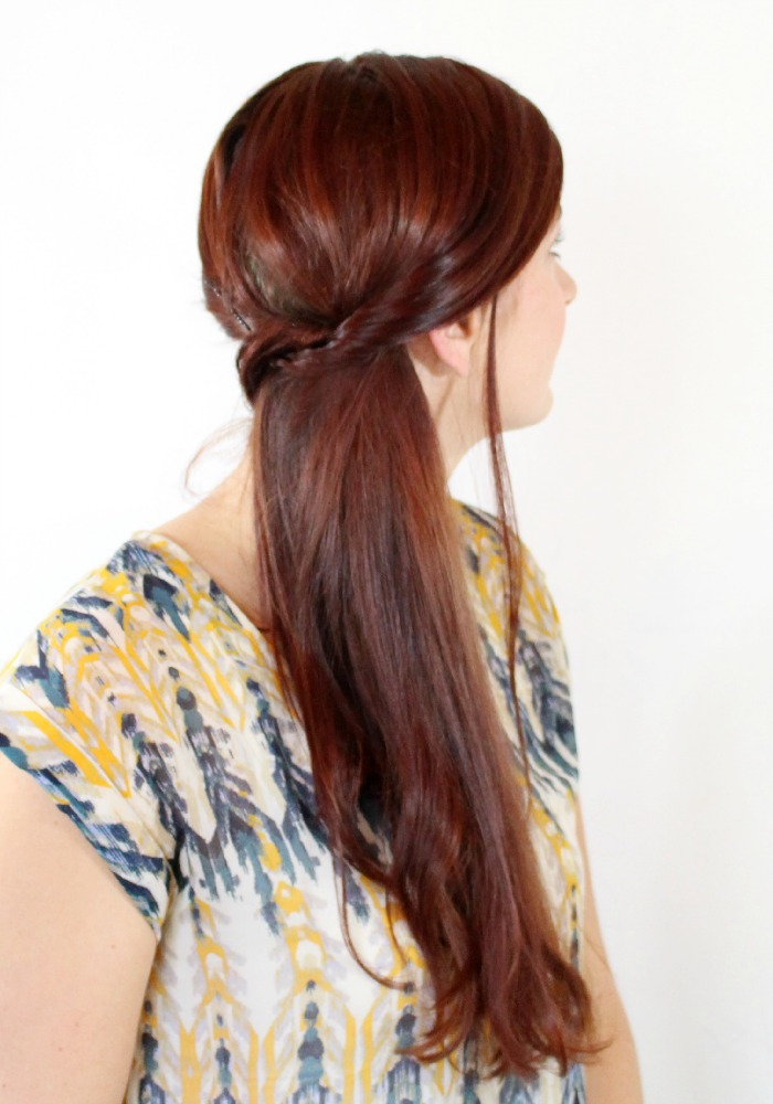 simple side pony tail with bobby pins