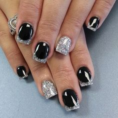 Glittering Black and Silver Nail Design