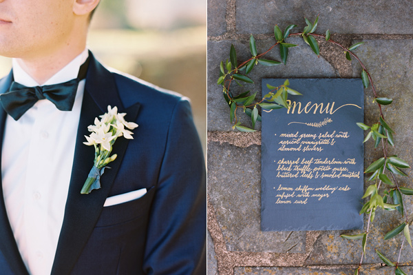 black and gold paper goods - photo by Adam Barnes http://ruffledblog.com/organic-greenhouse-wedding-inspiration