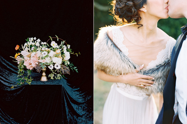 bridal fur stole - photo by Adam Barnes http://ruffledblog.com/organic-greenhouse-wedding-inspiration