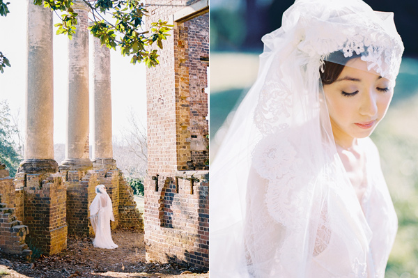 wedding veil - photo by Adam Barnes http://ruffledblog.com/organic-greenhouse-wedding-inspiration