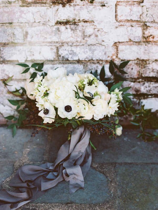 white bouquet with anemones - photo by Adam Barnes http://ruffledblog.com/organic-greenhouse-wedding-inspiration