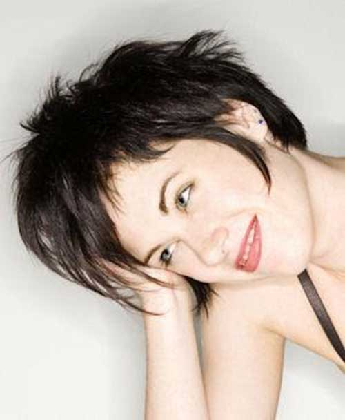Brunette Messy Long Pixie Haircuts
