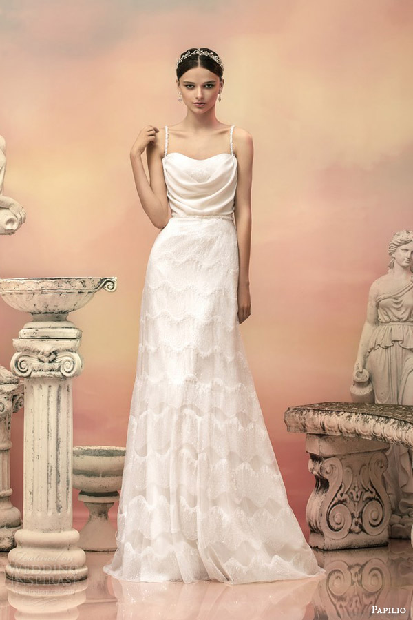 papilio bridal 2015 apollonia sleeveless sequin a line wedding dress beaded straps