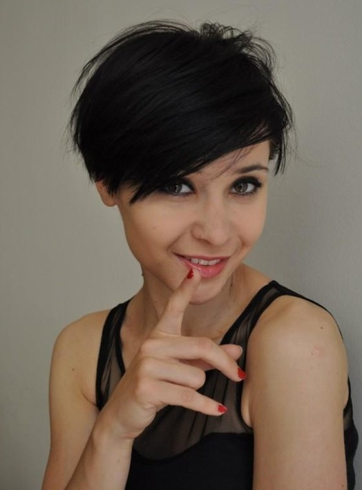 Short Black Haircut with Side Bangs
