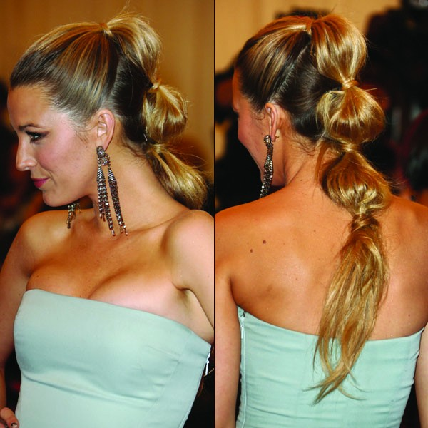 Blake Lively Beautiful Segmented Ponytail Hair